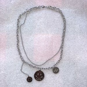 Unisex happy smiley silver multilayered  necklace